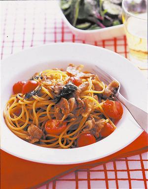 豚肉とプチトマトの和風スパゲティ