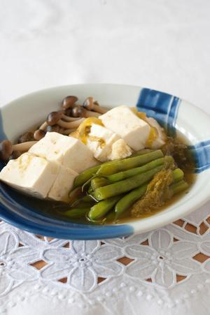いんげんと豆腐のとろろ昆布煮