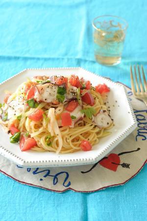 たこと野菜のにんにくスパゲティ