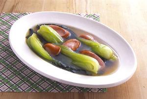 青梗菜とソーセージの中華煮