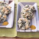 にんにくの茎とささ身のカレー風味かき揚げ