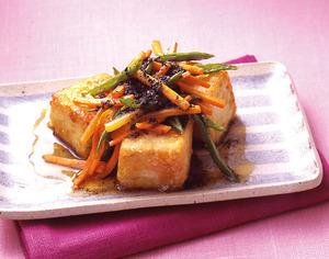 野菜のせ揚げ豆腐
