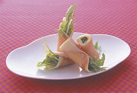 水菜のハムチーズ巻き