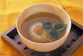 半熟卵のすまし汁