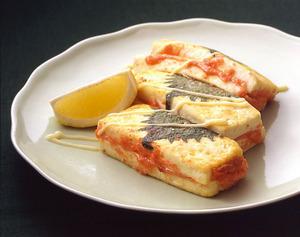 豆腐の明太はさみ焼き