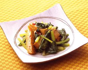 小松菜と厚揚げのピリ辛炒め