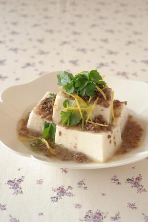 温豆腐のそぼろあんかけ