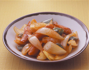玉ねぎとソーセージの酢豚風