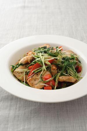 水菜と鶏肉のガーリック炒め
