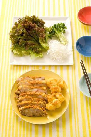 カレー風味の蒸し鶏