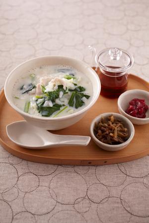 小松菜の豆乳がゆ