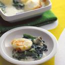 菜の花とゆで卵のグラタン