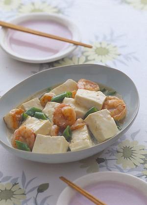豆腐とえびの塩炒め