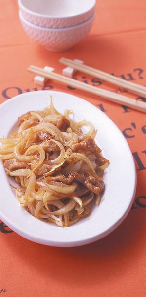 新玉ねぎと豚肉の中華炒め