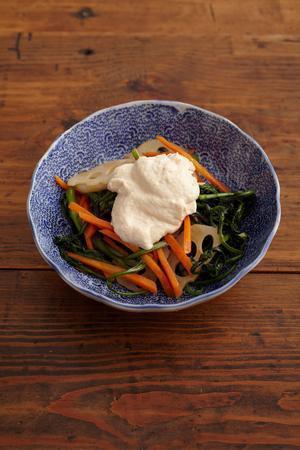 炒め野菜の豆腐ソースがけ