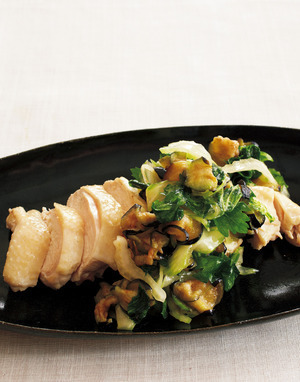 野菜たっぷりのせ蒸し鶏