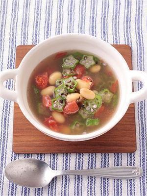 大豆とオクラのゆで汁スープ