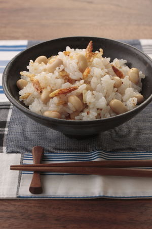 大豆と桜えびの混ぜご飯