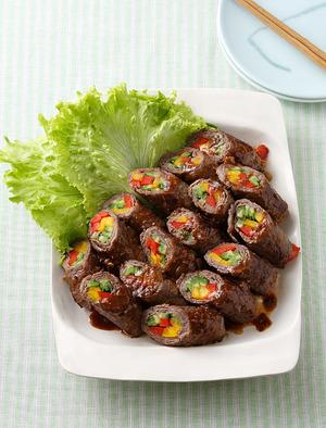 夏野菜の牛肉巻き