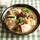豆腐と牛肉のオイスターバター煮