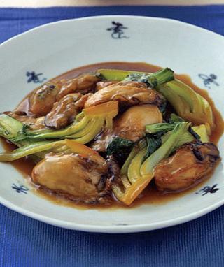 かきと青梗菜の中華炒め