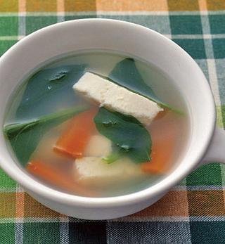 豆腐と小松菜の中華スープ