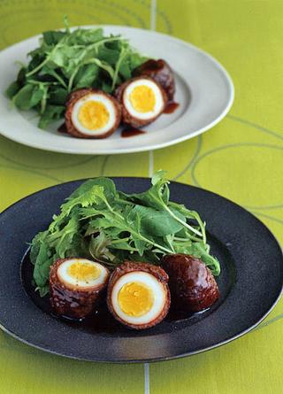 卵の牛肉ロール焼き