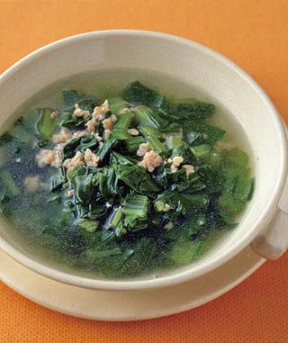 ひき肉と小松菜のスープ