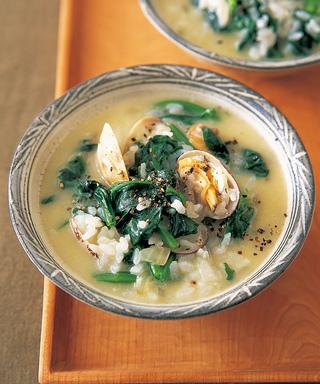 あさりとほうれん草のスープご飯