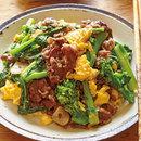 牛肉と菜の花のオイスター炒め