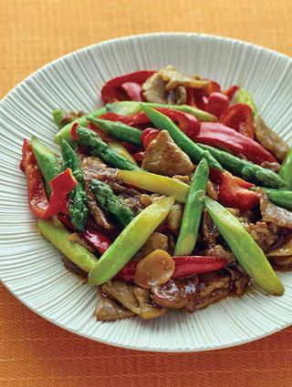 アスパラと豚肉の中華炒め