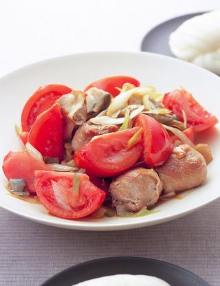 肉だんごとトマトのねぎザーサイ炒め