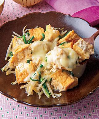 厚揚げともやしの甘辛チーズ煮
