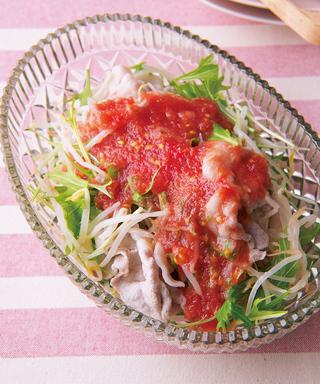 もやしと豚しゃぶのトマトドレッシングサラダ