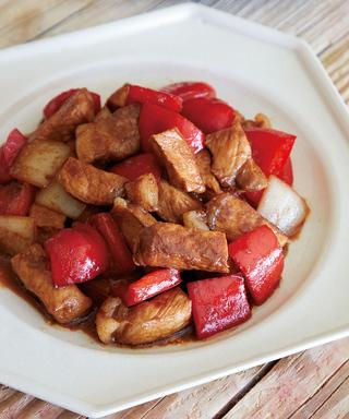 豚肉とパプリカのオイスター甘酢炒め