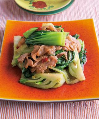 青梗菜と豚肉のみそ炒め