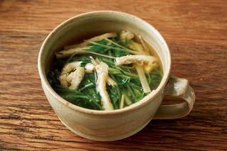 油揚げと水菜の和風スープ