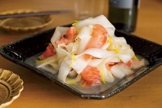 ひらひら大根とサーモンのゆず風味サラダ