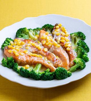 鮭のグリル コーンとホタテのうま味がいっぱいあんかけ