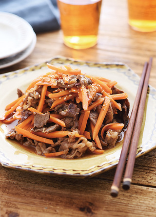 にんじんと牛肉のピリ辛炒め