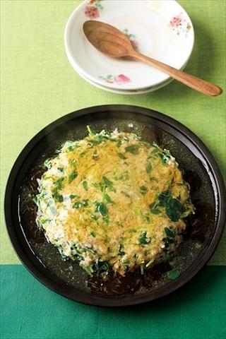 豆苗と鶏ひきのレンジ蒸し しょうがあんかけ